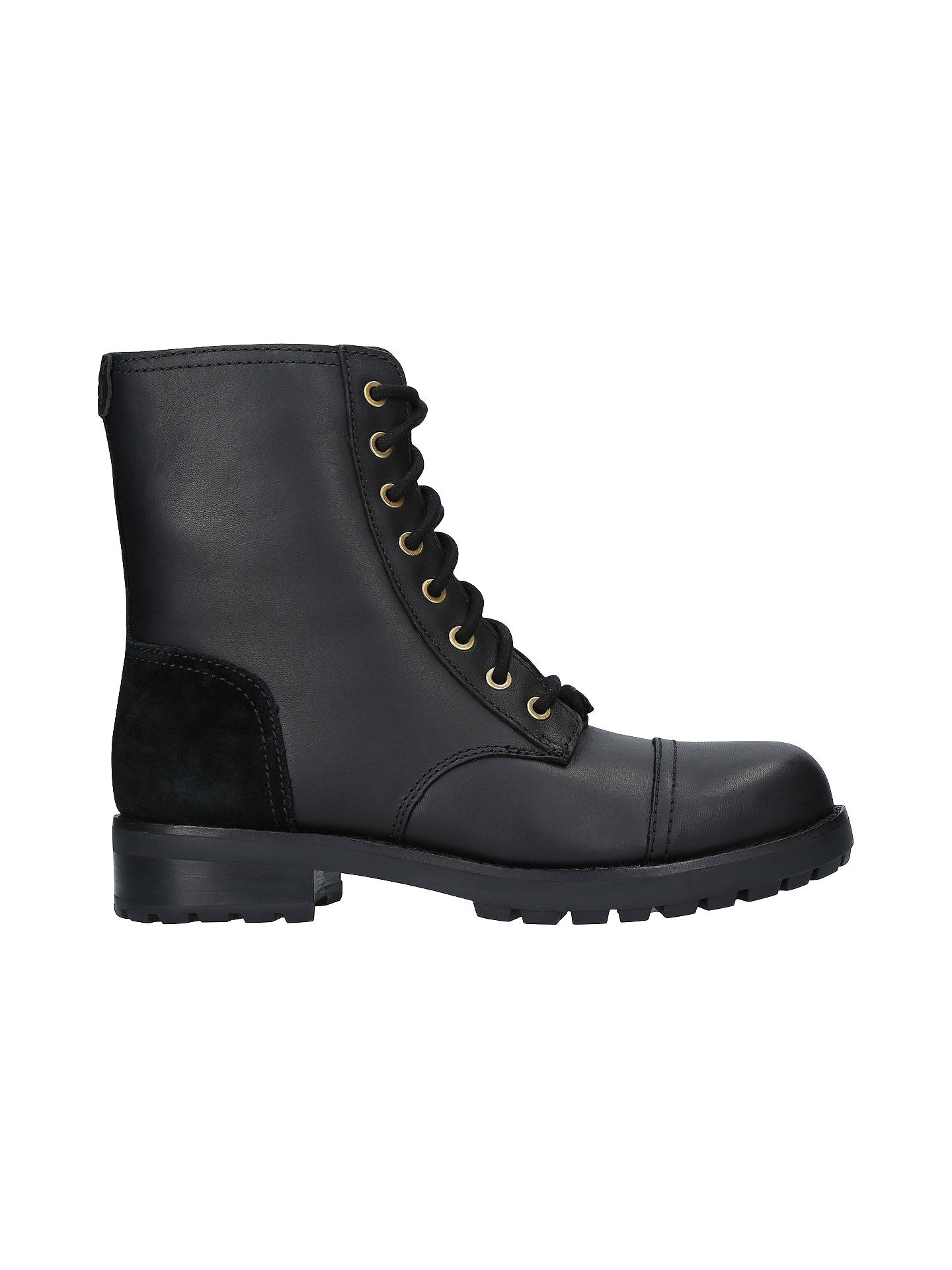 75ffae15574 UGG Kilmer Lace Up Ankle Boots, Black Leather/Suede at John Lewis ...