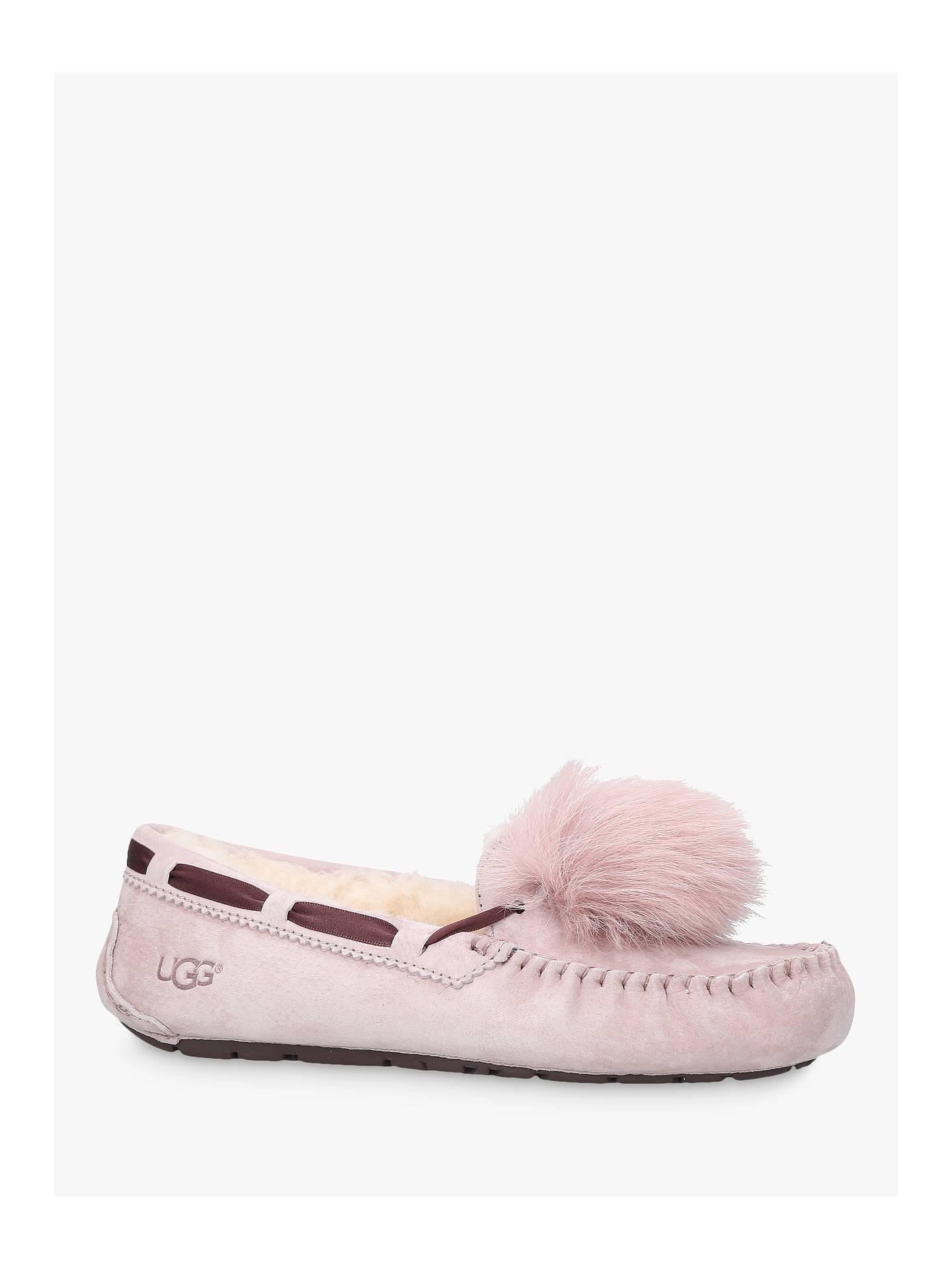 BuyUGG Dakota Moccasin Pom Sheepskin Slippers, Pale Pink, 3 Online at johnlewis.com ...