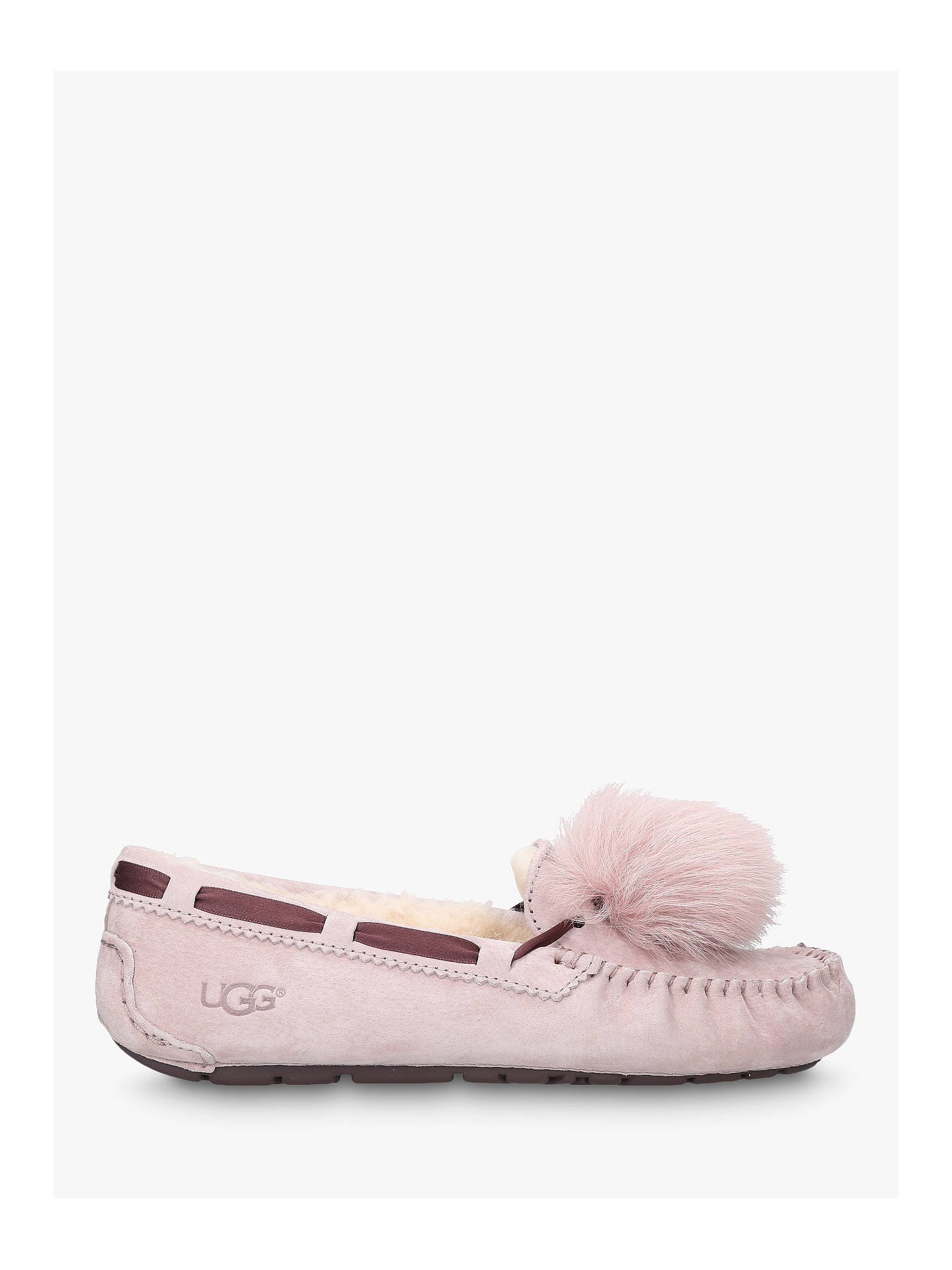 e94a23cf402 UGG Dakota Moccasin Pom Sheepskin Slippers, Pale Pink at John Lewis ...