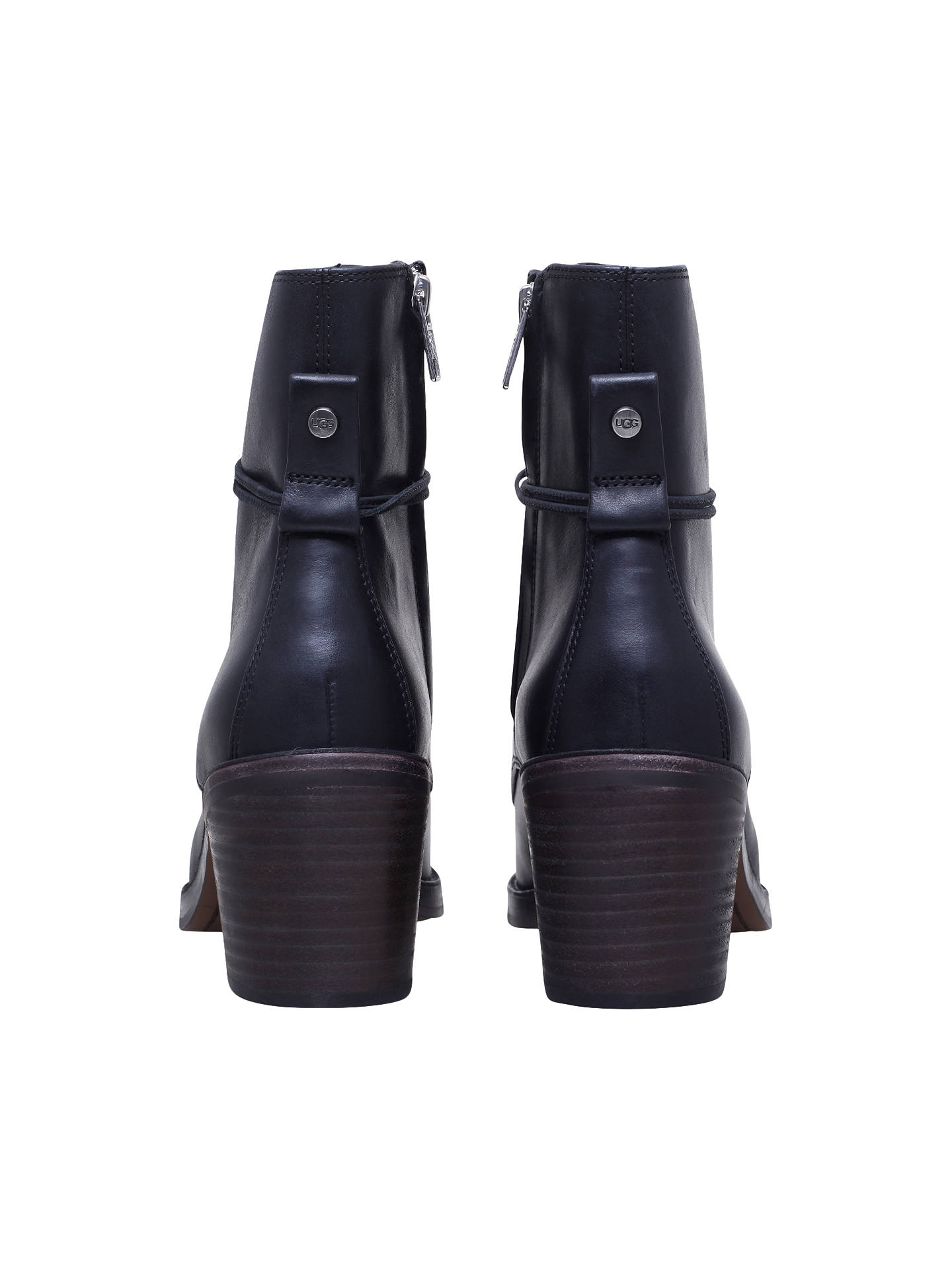 d1ec9a5d3bb UGG Oriana Lace Up Ankle Boots, Black Leather at John Lewis & Partners