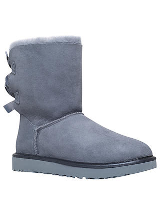 9e6f99991c8 UGG Bailey Bow Sheepskin Short Boots, Pale Blue Suede at John Lewis ...
