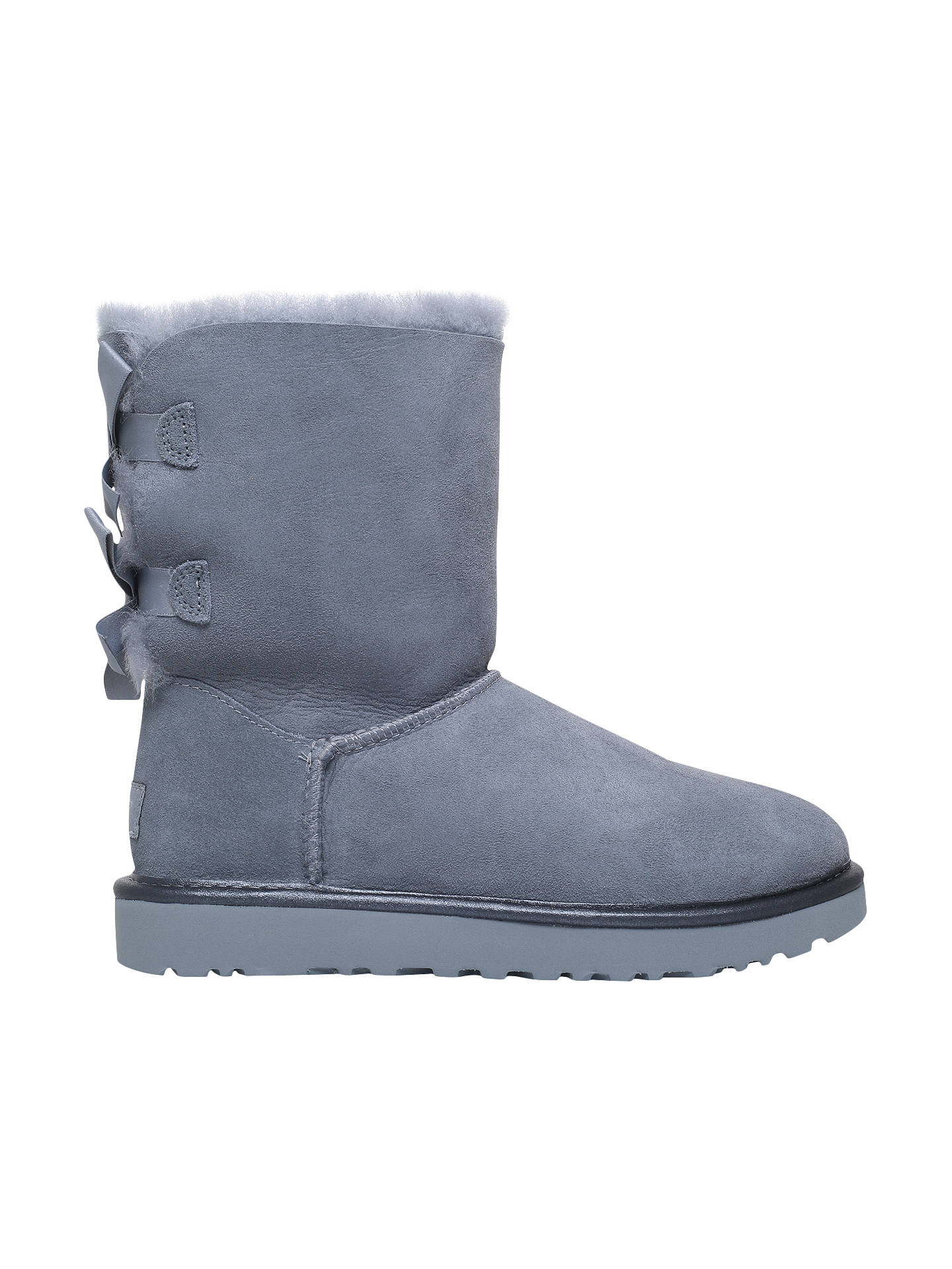 f37bf0a1caa UGG Bailey Bow Sheepskin Short Boots, Pale Blue Suede at John Lewis ...