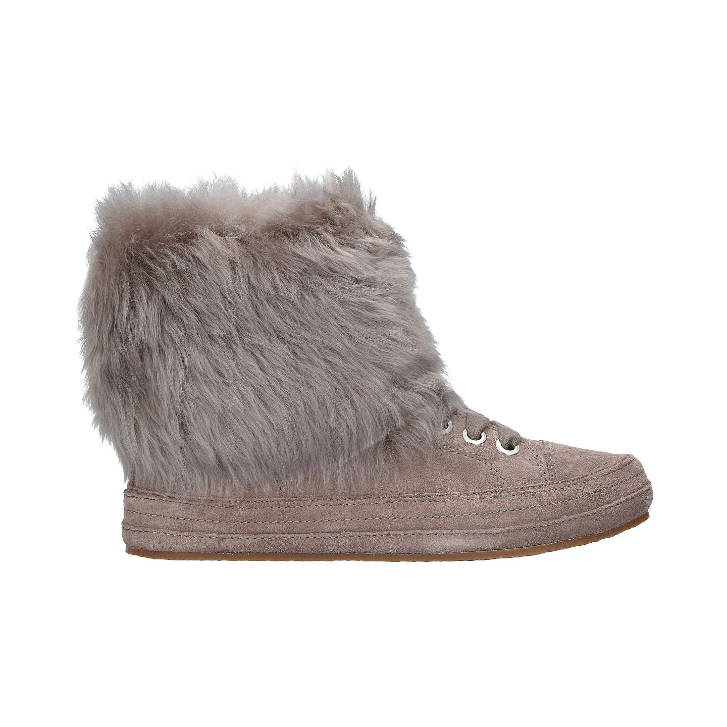 BuyUGG Antoine Faux Fur Cuff Ankle Boots, Dark Grey Suede, 4 Online at johnlewis.com