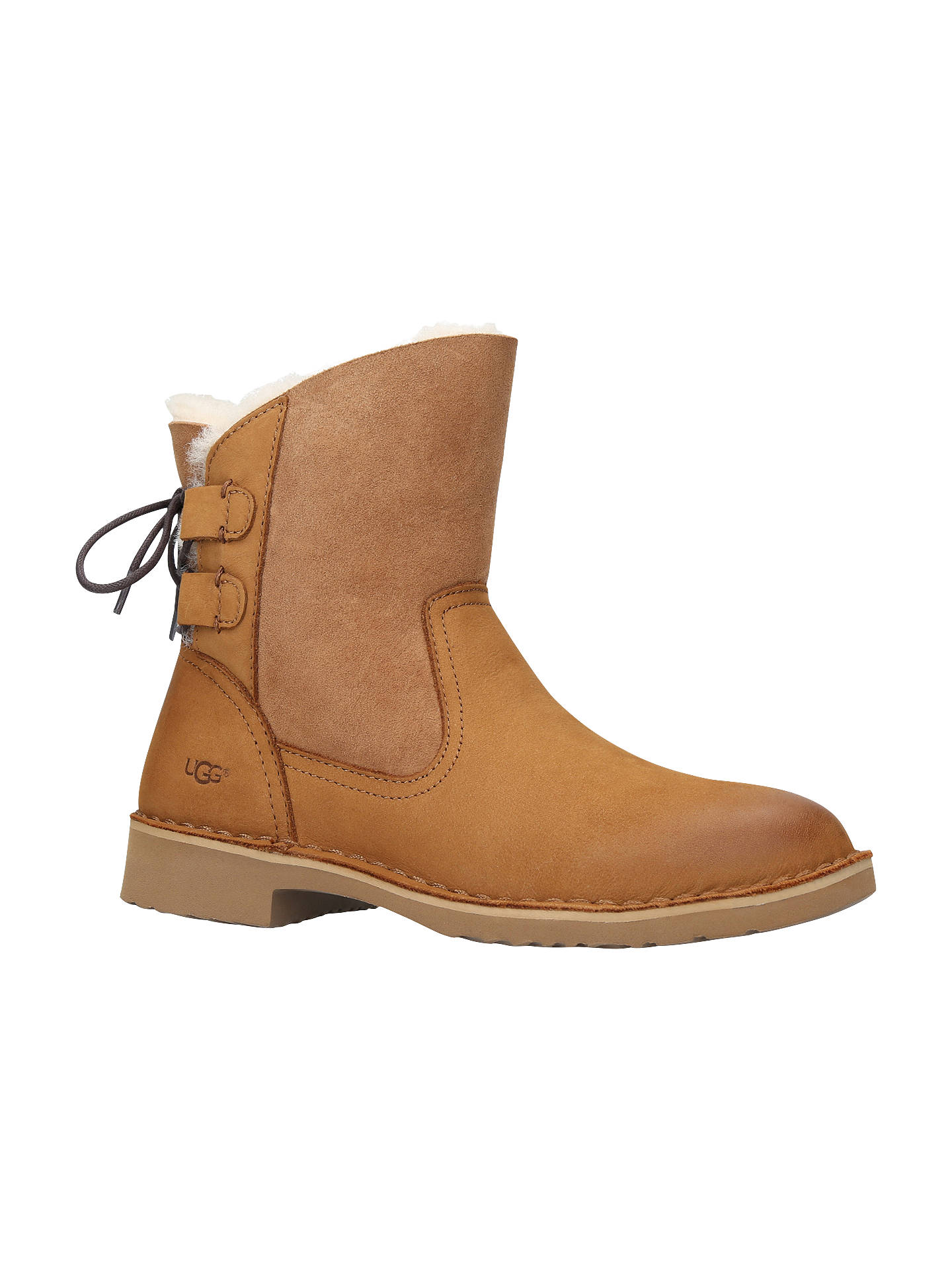c682320dd30 UGG Naiyah Lace Up Ankle Boots, Brown at John Lewis & Partners