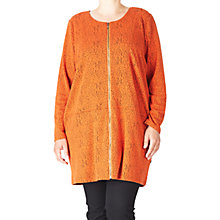 Buy ADIA Long Zipper Jacquard Cardigan, Orange Rust Online at johnlewis.com