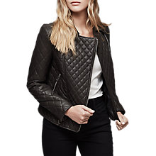 Buy Reiss Amie Quilted Leather Biker Jacket, Chocolate Online at johnlewis.com