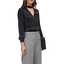 Buy Whistles Carolina Silk Satin Blouse, Black Online at johnlewis.com