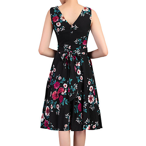 Buy Jolie Moi Floral Print Wrap Belted Dress, Black Floral Online at johnlewis.com
