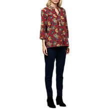 Buy East Anokhi Shirin Pintuck Top, Red/Multi Online at johnlewis.com