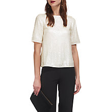 Buy Whistles Cassidy Sequin T-Shirt, Ivory Online at johnlewis.com