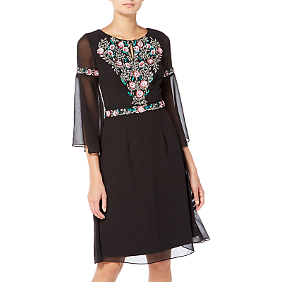 Raishma Boho Floral Embroidered Boho Dress, Black