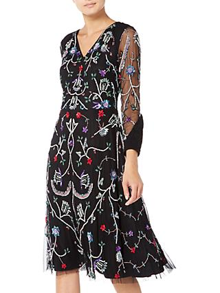 Raishma Floral Embroidered Midi Dress, Black/Multi
