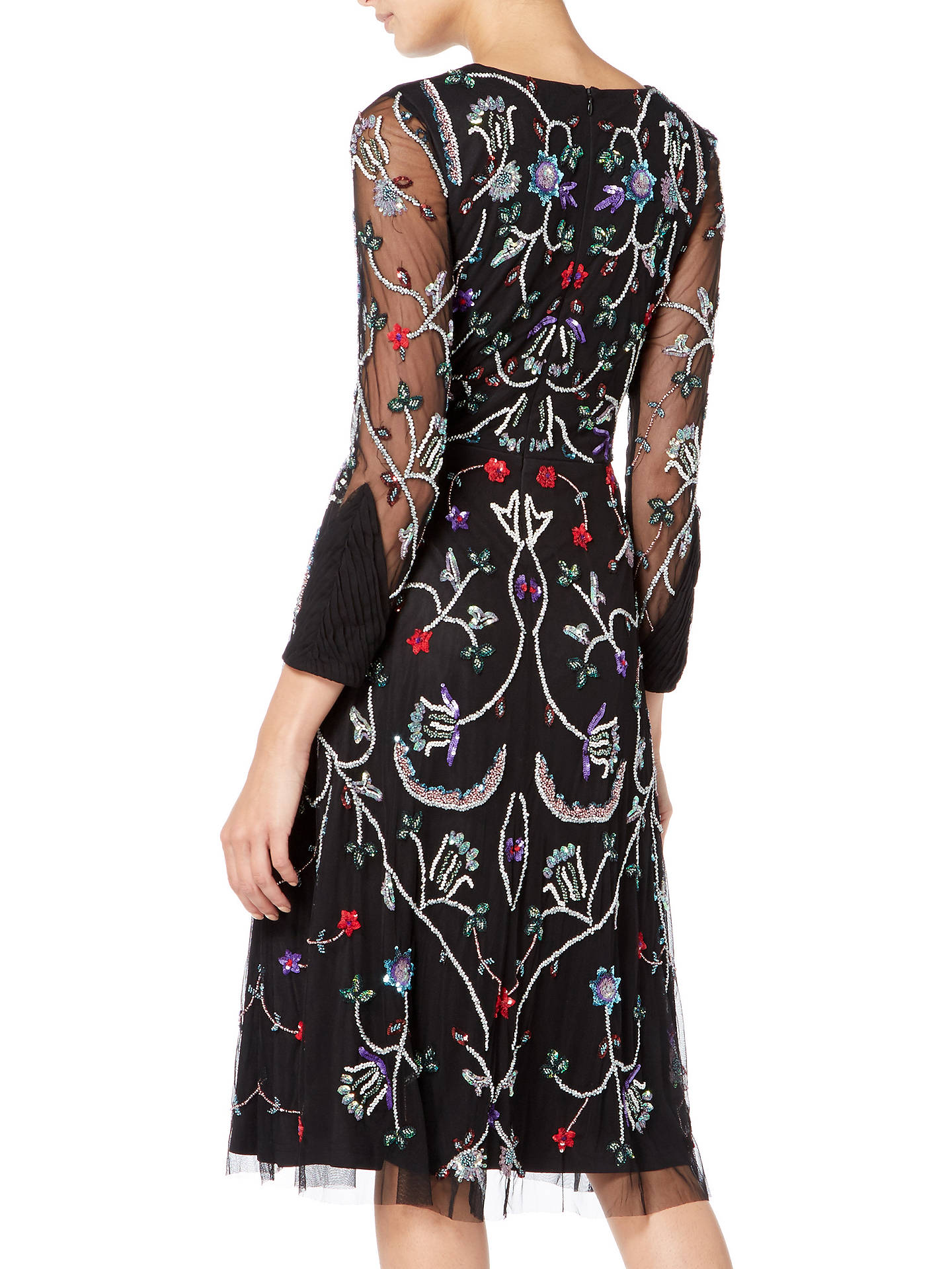 Buy Raishma Floral Embroidered Midi Dress, Black/Multi, 8 Online at johnlewis.com