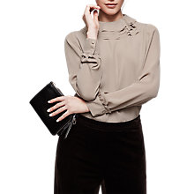 Buy Reiss Briony Ruffle Detail Blouse, Sand Online at johnlewis.com