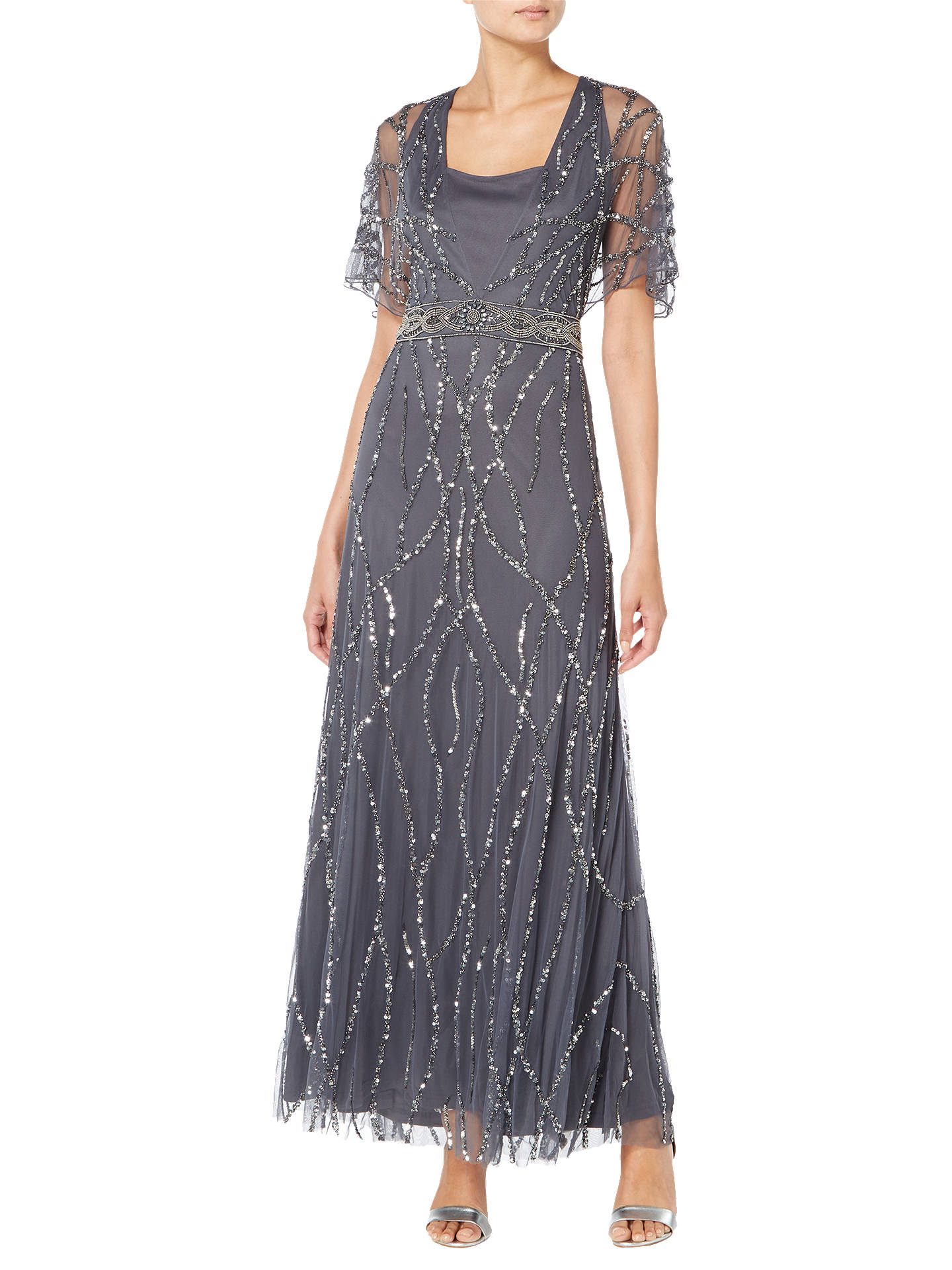 Buy Raishma Ella Embroidered Gown, Charcoal, 14 Online at johnlewis.com