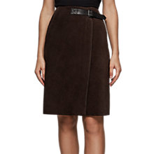 Buy Reiss Riley Suede A-Line Skirt, Chocolate Online at johnlewis.com