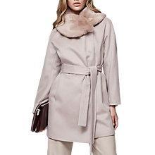 Buy Reiss Aeven Wrap Faux Fur Collar Coat, Parchment Online at johnlewis.com