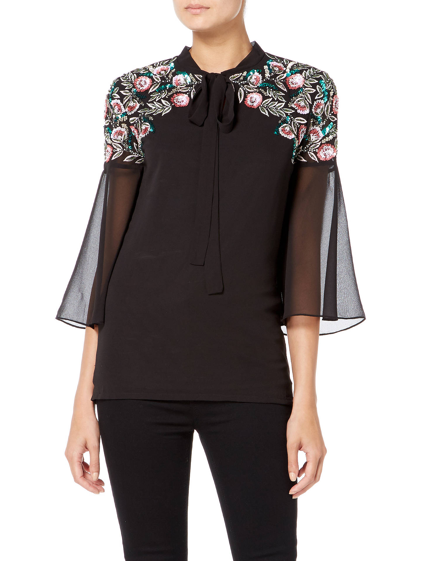 BuyRaishma Boho Sequin Shirt, Black, 8 Online at johnlewis.com