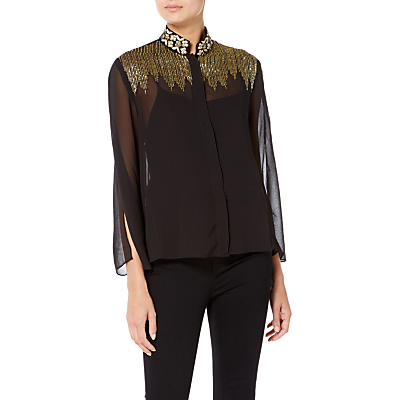 Raishma Lila Embroidered Shirt, Black
