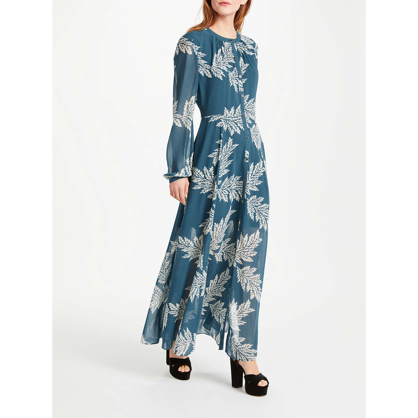 Somerset by Alice Temperley Palm Print Maxi Dress, Blue at John Lewis