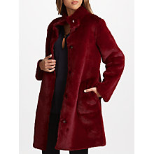 Buy Velvet by Graham & Spencer Mina Reversible Faux Fur Coat, Wine Online at johnlewis.com