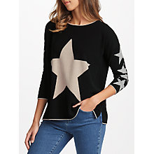 Buy Cocoa Cashmere Star Front Jumper, Black/Oatmeal Online at johnlewis.com