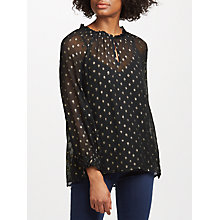 Buy Velvet by Graham & Spencer Jorie Sheer Chiffon Blouse, Black/Gold Online at johnlewis.com