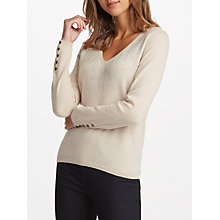Buy Cocoa Cashmere Embellished V-Neck Jumper, Oatmeal Online at johnlewis.com