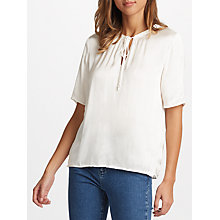 Buy Velvet by Graham & Spencer Jordane Tie Neck Top, Cream Online at johnlewis.com