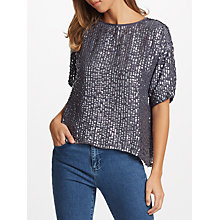 Buy Velvet by Graham & Spencer Lynne Sequin Top, Gunmetal Online at johnlewis.com