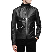 Buy Reiss McKnight Leather Tab Collar Jacket, Black Online at johnlewis.com