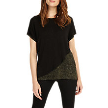 Buy Phase Eight Elizabetta Knitted Metallic Detail Top, Black/Bronze Online at johnlewis.com