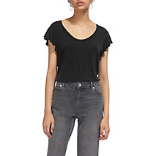 Buy Whistles Frill Sleeve Top, Black Online at johnlewis.com