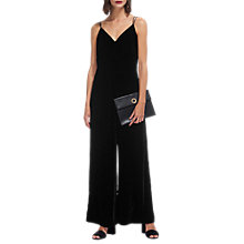 Buy Whistles Gabrielle Velvet Jumpsuit, Black Online at johnlewis.com