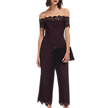 Buy Whistles Off Shoulder Lace Jumpsuit, Fig Online at johnlewis.com