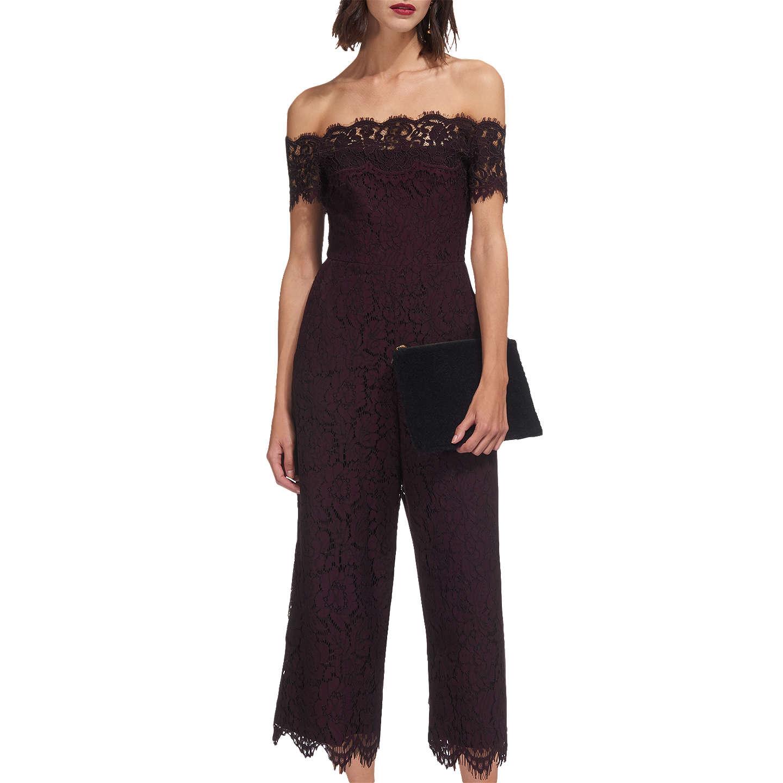 BuyWhistles Off Shoulder Lace Jumpsuit, Fig, 16 Online at johnlewis.com ...