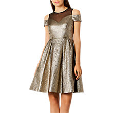 Buy Coast Jiana Met Bardot Dress, Gold Online at johnlewis.com