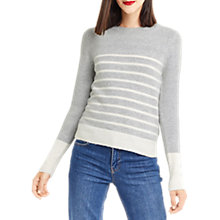 Buy Oasis Striped Perfect Crew Neck Jumper, Mid Grey Online at johnlewis.com
