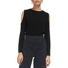 Buy Whistles Embellished Cold Shoulder Jumper, Black Online at johnlewis.com