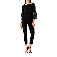 Buy Coast Keji Stripe Sleeve Top, Black Online at johnlewis.com