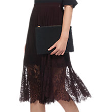 Buy Whistles Lillian Pleated Lace Skirt, Fig Online at johnlewis.com