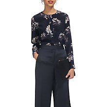 Buy Whistles Jennifer Brushstroke Print Silk Top, Navy/Multi Online at johnlewis.com