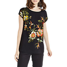 Buy Oasis Rosetti Woven Front Top, Black/Multi Online at johnlewis.com