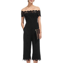 Buy Whistles Off Shoulder Lace Jumpsuit, Black Online at johnlewis.com