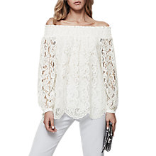 Buy Reiss Off The Shoulder Lace Top, Off White Online at johnlewis.com