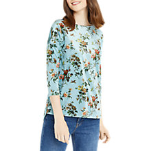 Buy Oasis Printed Velvet Sweat Top, Multi/Green Online at johnlewis.com