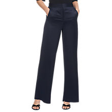 Buy Whistles Satin Wide Leg Trousers, Navy Online at johnlewis.com