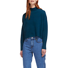 Buy Whistles Funnel Cropped Neck Wool Jumper, Green Online at johnlewis.com
