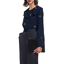 Buy Whistles Star Embroidered Blouse, Navy Online at johnlewis.com