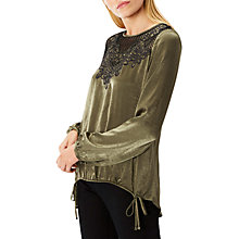 Buy Coast Reid Embroidered Top, Olive Online at johnlewis.com